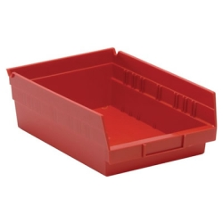 "11-5/8"" L x 8-3/8"" W x 4"" Hgt. Red Quantum® Economy Shelf Bin"