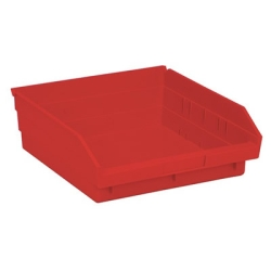 "11-5/8"" L x 11-1/8"" W x 4"" Hgt. Red Quantum® Economy Shelf Bin"