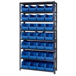 "12"" W x 36"" L x 75"" Hgt. Storage Unit w/8 Shelves & 28 Blue Bins 14-3/4"" L x 8-1/4"" W x 7"" Hgt."