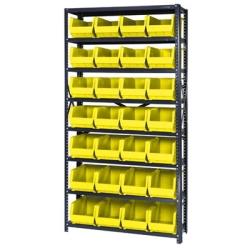 "12"" W x 36"" L x 75"" Hgt. Storage Unit w/8 Shelves & 28 Yellow Bins 14-3/4"" L x 8-1/4"" W x 7"" Hgt."
