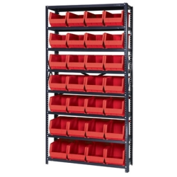 "12"" W x 36"" L x 75"" Hgt. Storage Unit w/8 Shelves & 28 Red Bins 14-3/4"" L x 8-1/4"" W x 7"" Hgt."