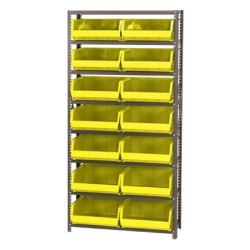 "12"" W x 36"" L x 75"" Hgt. Storage Unit w/8 Shelves & 8 Yellow Bins 14-3/4"" L x 16-1/2"" W x 7"" Hgt."