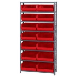 "12"" W x 36"" L x 75"" Hgt. Storage Unit w/8 Shelves & 8 Red Bins 14-3/4"" L x 16-1/2"" W x 7"" Hgt."