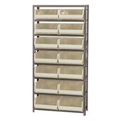 "12"" W x 36"" L x 75"" Hgt. Storage Unit w/8 Shelves & 8 Ivory Bins 14-3/4"" L x 16-1/2"" W x 7"" Hgt."