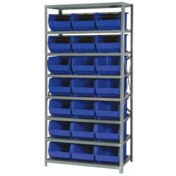 "18"" W x 36"" L x 75"" Hgt. Storage Unit w/8 Shelves & 21 Blue Bins 16"" L x 11"" W x 8"" Hgt."