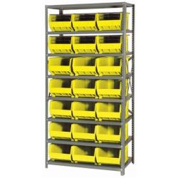 "18"" W x 36"" L x 75"" Hgt. Storage Unit w/8 Shelves & 21 Yellow Bins 16"" L x 11"" W x 8"" Hgt."