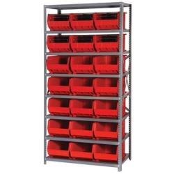 "18"" W x 36"" L x 75"" Hgt. Storage Unit w/8 Shelves & 21 Red Bins 16"" L x 11"" W x 8"" Hgt."