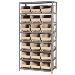 "18"" W x 36"" L x 75"" Hgt. Storage Unit w/8 Shelves & 21 Ivory Bins 16"" L x 11"" W x 8"" Hgt."
