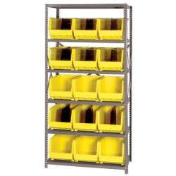 "18"" W x 36"" L x 75"" Hgt. Storage Unit w/6 Shelves & 15 Yellow Bins 18"" L x 11"" W x 10"" Hgt."