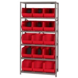 "18"" W x 36"" L x 75"" Hgt. Storage Unit w/6 Shelves & 15 Red Bins 18"" L x 11"" W x 10"" Hgt."