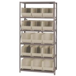 "18"" W x 36"" L x 75"" Hgt. Storage Unit w/6 Shelves & 15 Ivory Bins 18"" L x 11"" W x 10"" Hgt."