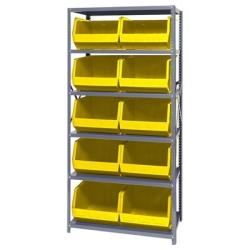"18"" W x 36"" L x 75"" Hgt. Storage Unit w/6 Shelves & 10 Yellow Bins 18"" L x 16-1/2"" W x 11"" Hgt."