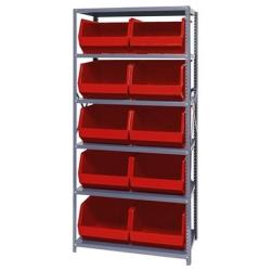 "18"" W x 36"" L x 75"" Hgt. Storage Unit w/6 Shelves & 10 Red Bins 18"" L x 16-1/2"" W x 11"" Hgt."