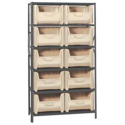 "16"" W x 42"" L x 75"" Hgt. Storage Unit w/6 Shelves & 10 Ivory Bins 15-1/4"" L x 19-7/8"" W x 12-7/16"" Hgt."