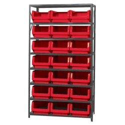 Magnum Bin Unit with 8 Shelves & 21 Red Bins 19-3/4