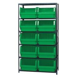 Magnum Bin Unit with 6 Shelves & 10 Green Bins 19-3/4