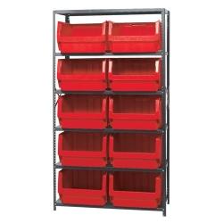 Magnum Bin Unit with 6 Shelves & 10 Red Bins 19-3/4