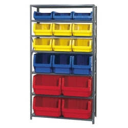 Magnum Bin Unit with 7 Shelves & 16 Mixed Size and Color Bins
