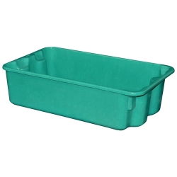 "42-1/2""L x 20""W x 7-1/2""H Green Nest & Stack Box w/Wire Reinforced Rim"