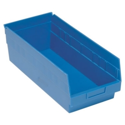 "17-7/8""L x 8-3/8""W x 6""H Blue Quantum® Store-More Shelf Bin"