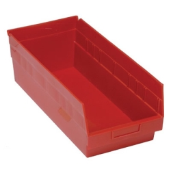 "17-7/8""L x 8-3/8""W x 6""H Red Quantum® Store-More Shelf Bin"