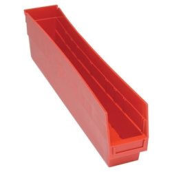 "23-5/8""L x 4-1/8""W x 6""H Red Quantum® Store-More Shelf Bin"