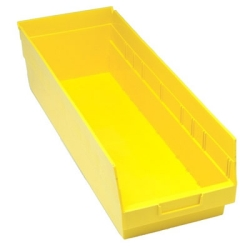 "23-5/8""L x 8-3/8""W x 6""H Yellow Quantum® Store-More Shelf Bin"