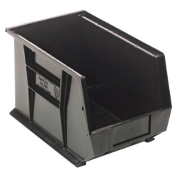 "13-5/8""L x 8-1/4""W x 6""H Black Quantum® Ultra Series Stack & Hang Bin"