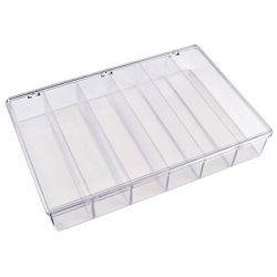 "K-Series™ Styrene 6 Compartment Box - 13-1/8"" L x 9"" W x 2-5/16"" Hgt."