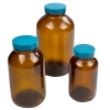 Safety-Coated Amber Glass Wide Mouth Packer Bottles with Caps