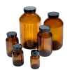 Amber Wide Mouth Packer Glass Bottles with Caps