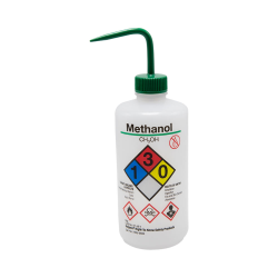16 oz./500mL Methanol Nalgene™ Right-To-Know Safety Wash Bottle with Green 28mm Spout Cap