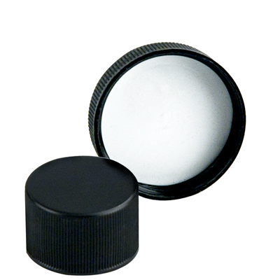 18/400 Black Polypropylene Ribbed Cap with F217 Liner