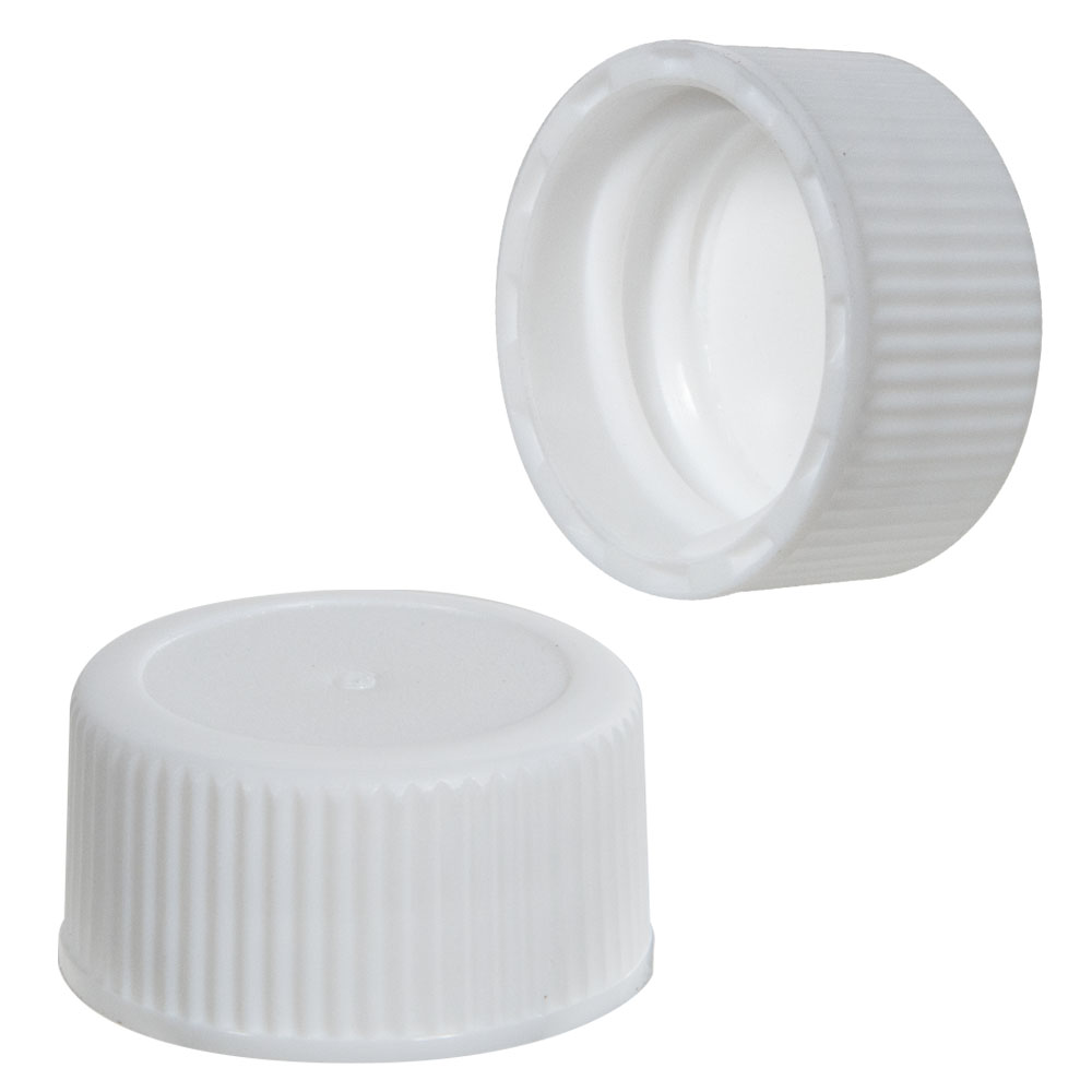 45/400 White Polypropylene Ribbed Cap with F217 Liner