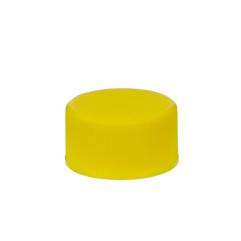 24/414 Yellow Polypropylene Ribbed Cap with F217 Liner