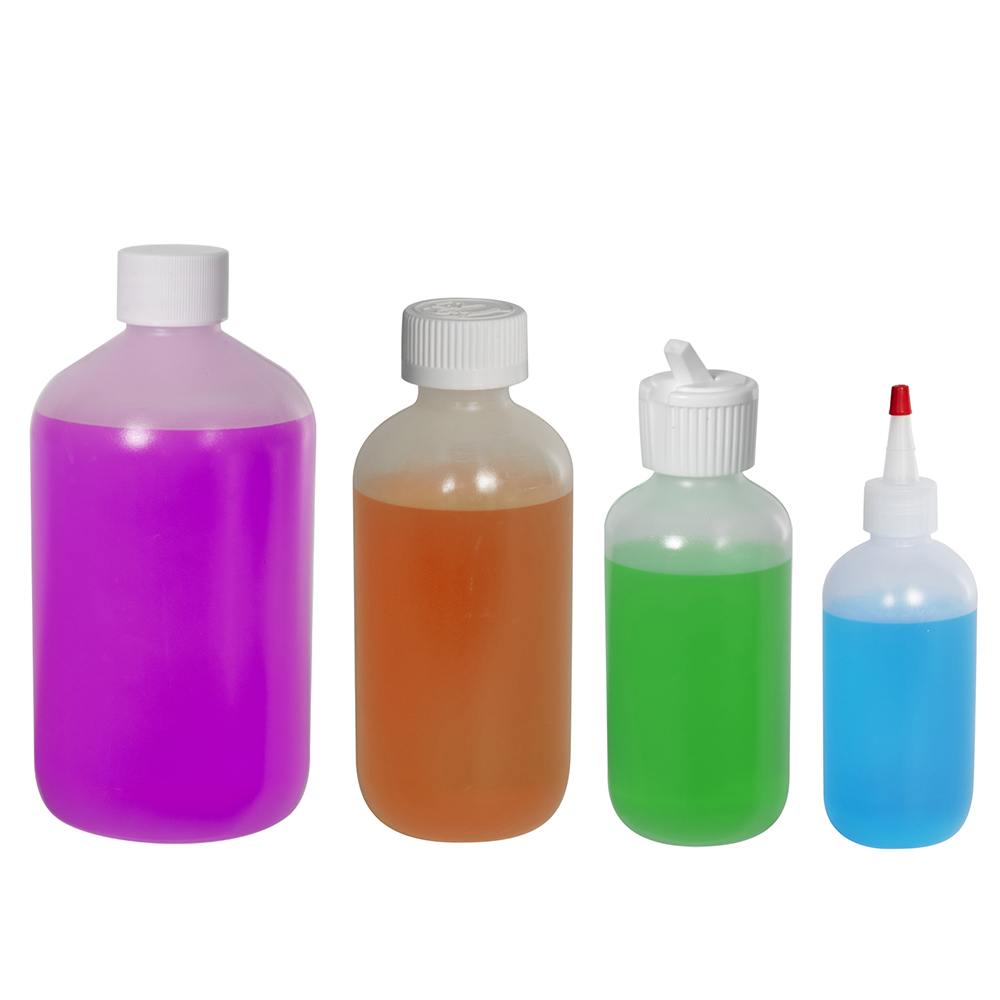LDPE Boston Round Bottles with Plain Caps
