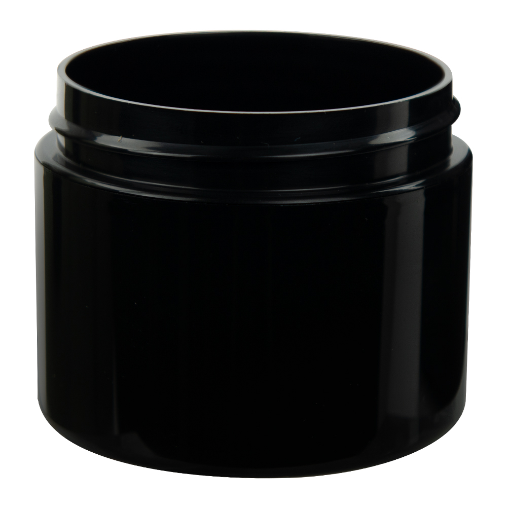 2 oz. Black Straight Sided Double Wall Jar with 58/400 Neck (Cap Sold Separately)