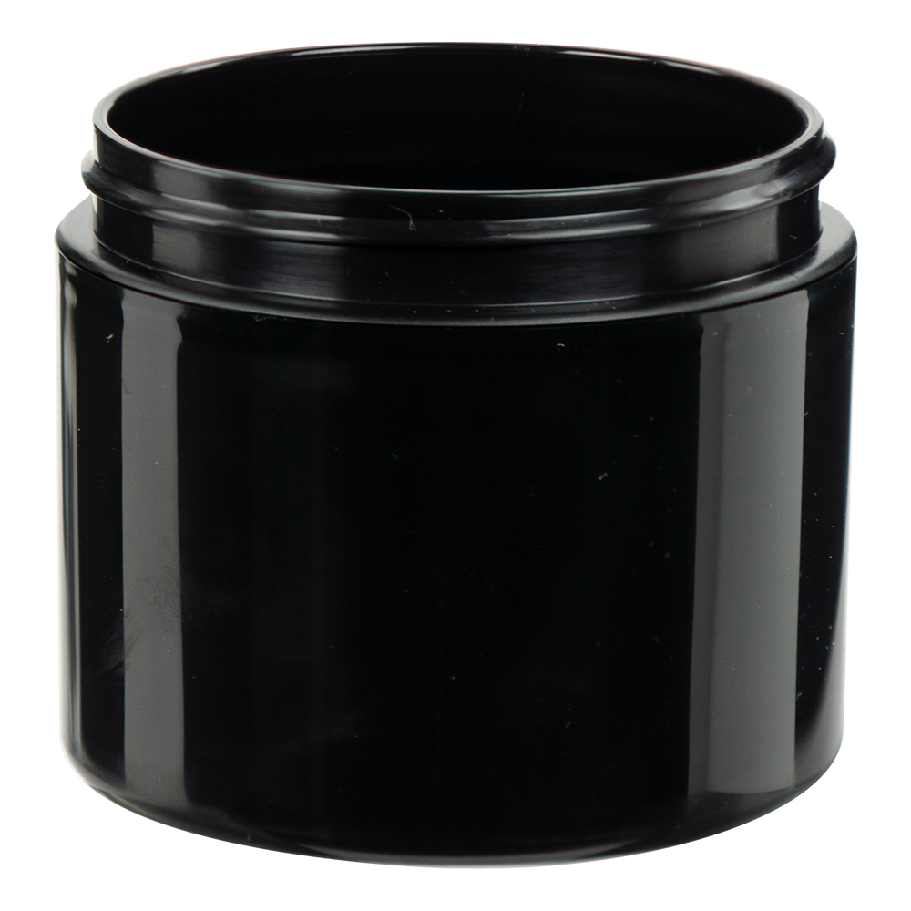 4 oz. Black Polypropylene Straight Sided Double Wall Jar with 70/400 Neck (Cap Sold Separately)