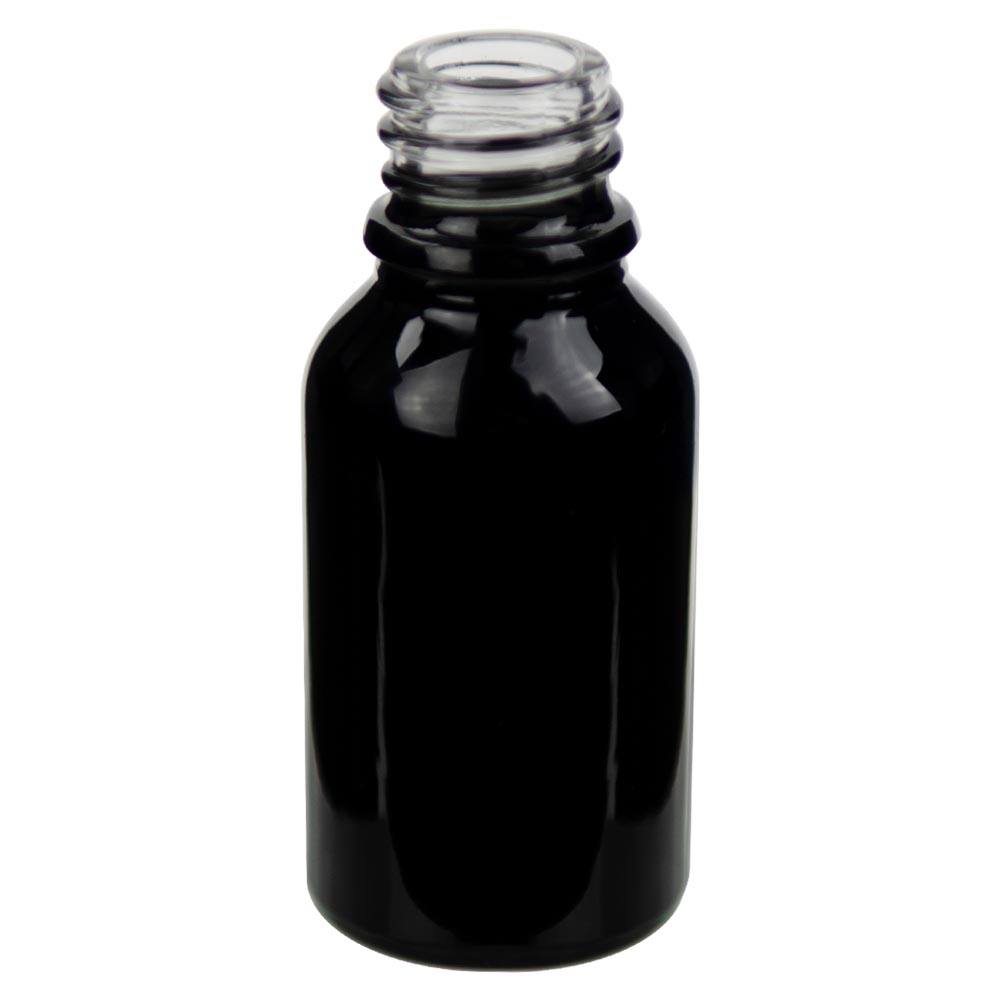 15mL Shiny Black E-Liquid Boston Round Glass Bottle with 18/415 Neck