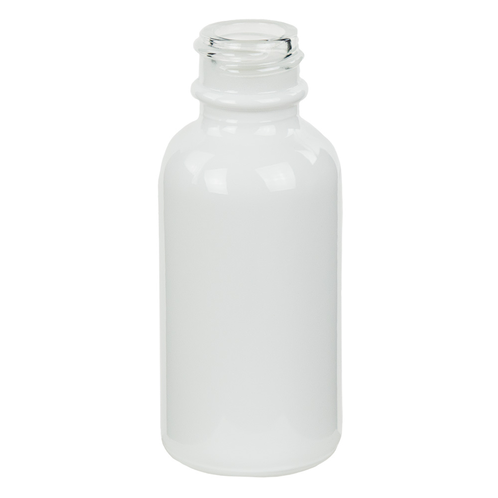 30mL Shiny White E-Liquid Boston Round Glass Bottle with 20/400 Neck (Cap Sold Separately)
