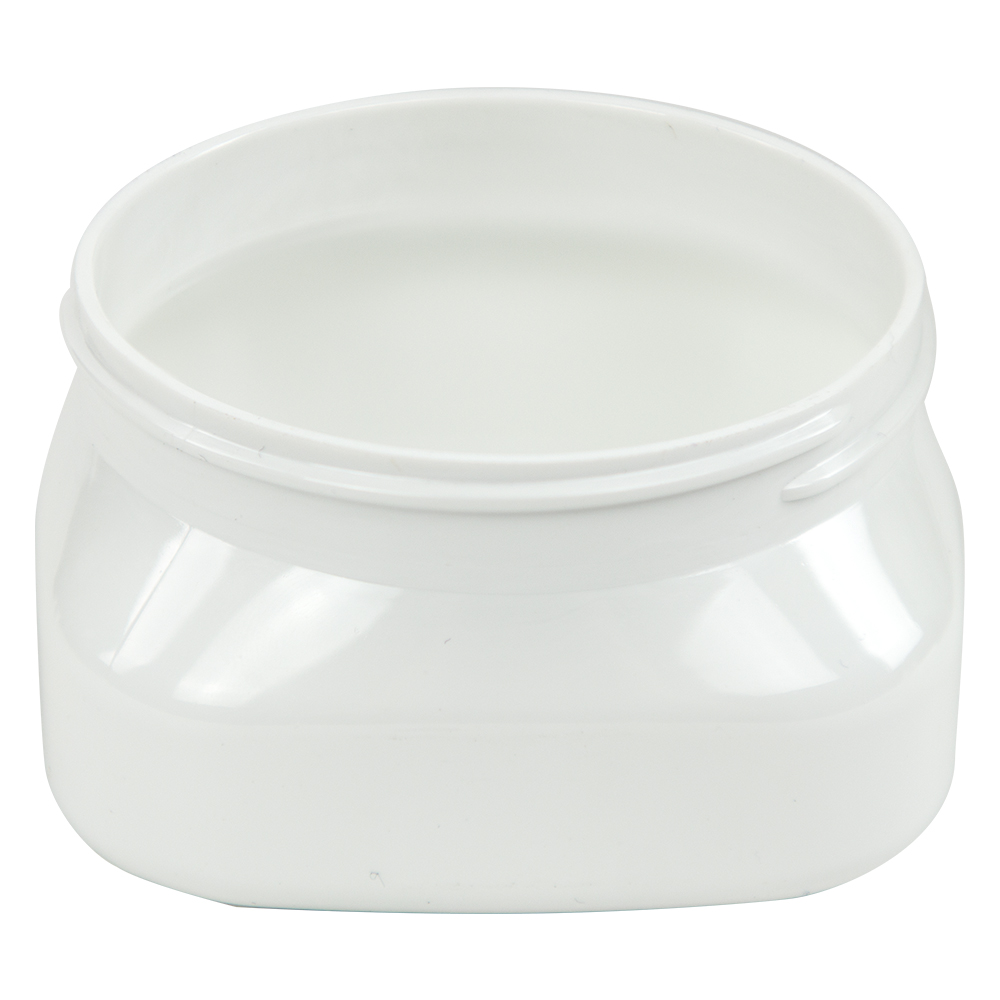 4 oz. White PET Firenze Square Jar with 70/400 Neck