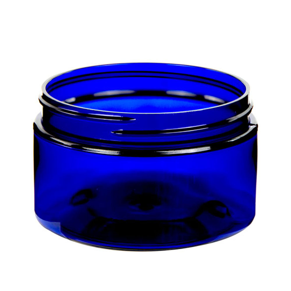 4 oz. Cobalt Blue PET Straight Sided Jar with 70/400 Neck (Cap Sold Separately)