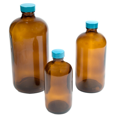Safety-Coated Amber Glass Boston Round Bottles with Caps