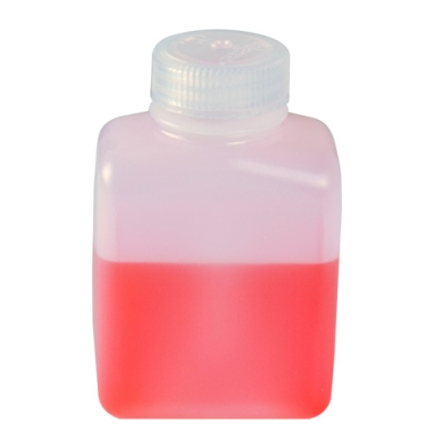 8 oz./250mL Nalgene™ HDPE Rectangular Bottles with 38mm Caps - Case of 72