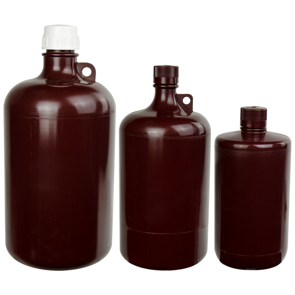 Thermo Scientific™ Nalgene™ Large Amber Narrow Mouth Bottles with Caps
