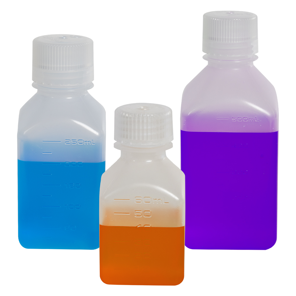 4 oz./125mL Nalgene™ Narrow Mouth Polypropylene Square Bottles with 38/430 Caps - Case of 72