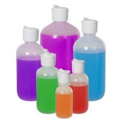 LDPE Boston Round Bottles with Flip-Top Caps