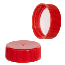 28/400 Red Polypropylene Ribbed Cap with F217 Liner