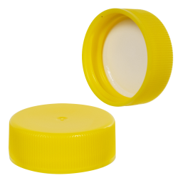 28/400 Yellow Polypropylene Ribbed Cap with F217 Liner