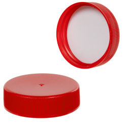38/400 Red Polypropylene Ribbed Cap with F217 Liner